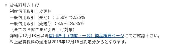 カブコム貸株料引上げ