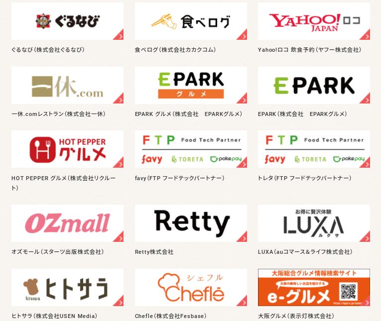 Go To Eatキャンペーン対象サイト