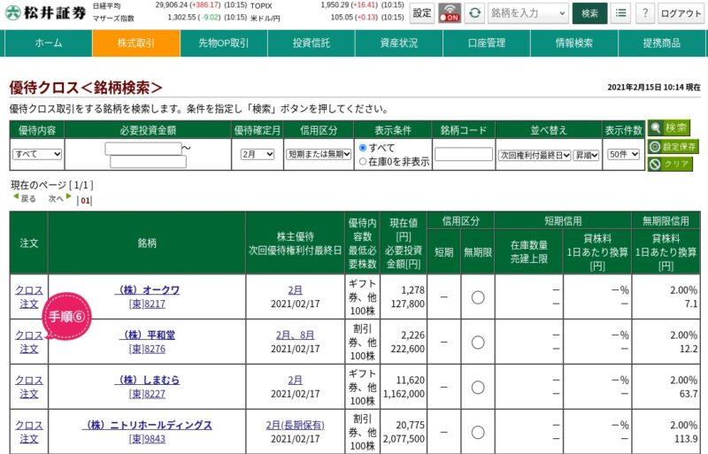松井証券優待クロス